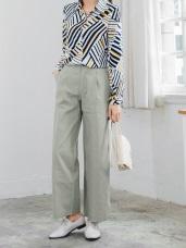 素色打褶質感側釦環直筒長褲.2色