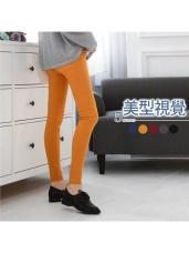 素色高腰排釦彈力修身窄管褲.5色