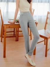 橫條紋拼接腰頭高彈力窄管褲