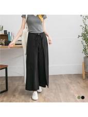 素面雪紡前片層次綁帶設計寬褲.2色