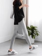 假兩件柔軟彈性x雪紡中裙素色內搭褲.2色