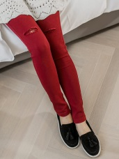 雙釦設計破洞內貼蕾絲造型彈力窄管褲‧4色