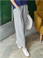 附綁帶素色打摺設計寬褲.2色