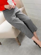 混色織紋後腰鬆緊九分寬褲.2色