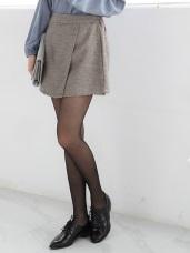 後腰圍鬆緊側釦飾一片式褲裙.2色