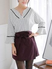 附綁帶腰頭反折造型千鳥格紋一片式短褲裙.2色