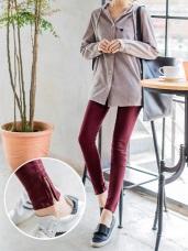 斜紋彈性質感拉鍊襬造型九分窄管褲.3色