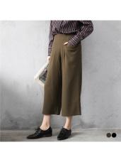 素色造型口袋寬版九分褲.2色