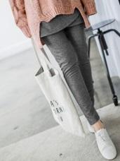 假兩件式內鋪棉素色不規則裙襬拼接內搭褲.2色