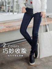 腰雙層鬆緊配色彈性牛仔褲