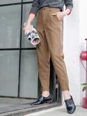 素色毛呢質感後腰鬆緊開衩設計直筒褲.2色