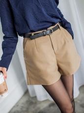 附腰帶素色毛呢質感短褲.2色