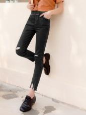 腰鬆緊抓破設計抽鬚彈力窄管牛仔褲