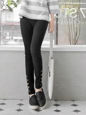 小腿排釦造型輕雪花刷色鬆緊彈力窄管褲