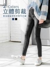 修身縫線個性刷白彈性窄管牛仔褲