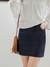 雪花刷色釦飾腰鬆緊彈力A字褲裙