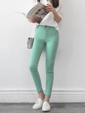 氣質蕾絲拼接純色棉感彈性修身窄管褲.4色