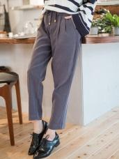腰圍抽繩反折荷葉打褶造型純色蜜桃絨老爺褲.2色