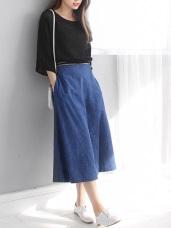 造型圖騰釦環腰帶片裙設計九分牛仔寬褲