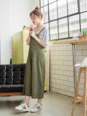 素色棉麻質感開釦設計後綁帶造型吊帶七分寬褲.2色