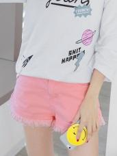 素面多色抽鬚下擺設計單釦短褲.6色