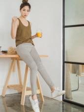 腰頭鬆緊個性打褶設計拉鍊造型褲腳彈力窄管褲.3色