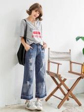 質感牛仔刷色割破設計抽鬚造型寬版褲