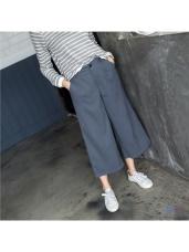 後腰圍鬆緊腰頭打褶設計純色七分寬褲.2色