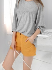 雙口袋純色高含棉挺括休閒短褲