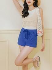 腰圍鬆緊抽繩綁帶多色素面棉感休閒短褲