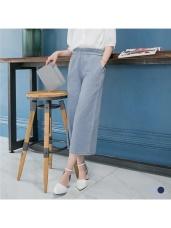 圓環腰帶設計牛仔質感寬版九分褲.2色