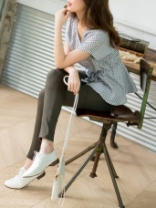 腰圍鬆緊拼色設計高含棉純色彈性窄管褲.3色