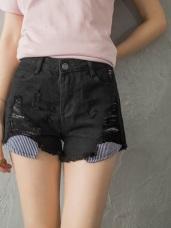 口袋拼接迷彩/條紋個性抓破高棉量單色斜紋短褲.5色