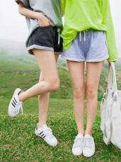 配色綁帶不收邊反摺造型鬆緊腰圍棉感短褲