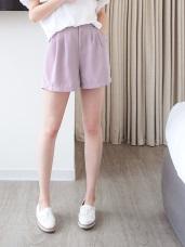 後腰鬆緊素色打摺造型短褲.3色