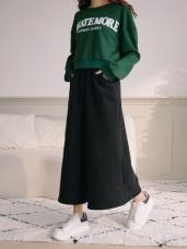 素色柔軟質感彈性腰圍內磨毛寬褲.2色