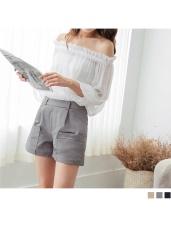 素色俐落質感雙口袋西裝短褲.3色