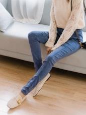 直腿修身棉感雪花窄管褲