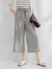 前綁帶造型打褶寬版長褲.2色