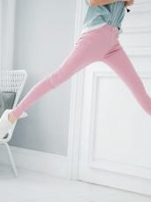 腰鬆緊單釦造型彈性長褲