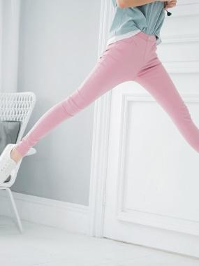 純色腰圍鬆緊單釦造型彈性長褲.6色