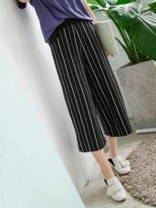台灣製造.腰圍鬆緊條紋寬褲