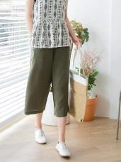 後腰鬆緊抽繩綁帶打褶設計純色七分寬褲.3色