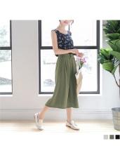 純色設計感雙釦後腰圍鬆緊九分寬褲.3色