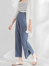 前壓中線襬開衩造型雪紡寬鬆長褲.2色