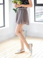後腰鬆緊光澤感純色小魚尾百褶短褲裙.2色