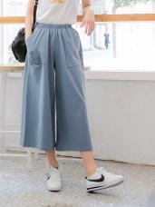 高含棉腰圍鬆緊兩側口袋質感七分寬褲