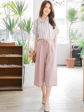 後腰鬆緊造型綁帶打褶設計光澤感純色七分寬褲