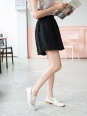 高腰抓皺設計光澤感素面多色A字褲裙