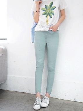 素色腰圍鬆緊刷破造型彈性長褲.3色